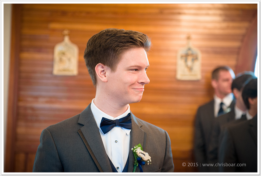 Patrick watching his bride come down this isle.